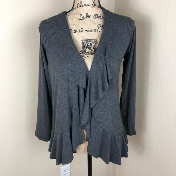 Flirty Grey Ruffle Knit Cardigan NWT L